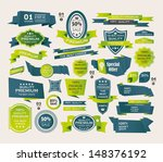set of retro ribbons and labels ... | Shutterstock .eps vector #148376192