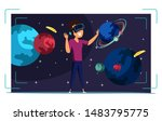 vr space exploration flat...   Shutterstock .eps vector #1483795775