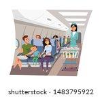 flight attendant serving... | Shutterstock .eps vector #1483795922