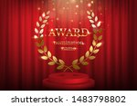 golden award sign with laurel... | Shutterstock .eps vector #1483798802