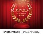 golden award sign with laurel...   Shutterstock .eps vector #1483798802