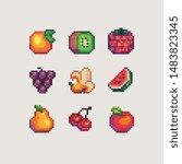 Fruits Pixel Art Icons Set ...