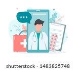 online doctor consultation via... | Shutterstock .eps vector #1483825748