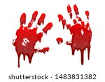 bloody hand print 3d set... | Shutterstock .eps vector #1483831382