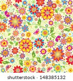 floral colorful wallpaper. | Shutterstock .eps vector #148385132