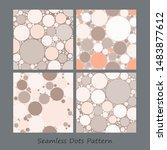 retro dots vector textures set. ... | Shutterstock .eps vector #1483877612