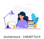 woman with laptop  education or ... | Shutterstock .eps vector #1483877615