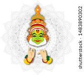 illustration of kathakali... | Shutterstock .eps vector #1483890302