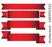 a set of red paper sale banners.... | Shutterstock .eps vector #1483931522