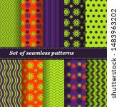 set of trendy seamless floral... | Shutterstock .eps vector #1483963202