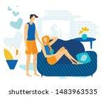 advertising banner couple in... | Shutterstock .eps vector #1483963535