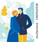 bright banner couple in love... | Shutterstock .eps vector #1483963538