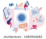 people doing active shopping... | Shutterstock .eps vector #1483963682