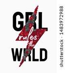 girl rules the world slogan... | Shutterstock .eps vector #1483972988