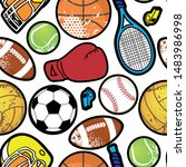 seamless sport pattern with... | Shutterstock .eps vector #1483986998