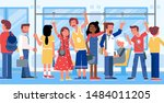 Public transport flat vector illustration. Trolleybus, tram passengers cartoon characters. Young men and women standing, holding handrails in bus, subway train. City travel, urban conveyance