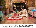indian couple making flower... | Shutterstock . vector #1484028278