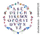 english alphabet in flowers and ... | Shutterstock .eps vector #1484039135