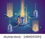 server maintenance flat... | Shutterstock .eps vector #1484052092