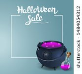 halloween sale  square discount ... | Shutterstock .eps vector #1484054312