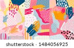 Stock vector creative doodle art header with different shapes and textures collage vector 1484056925
