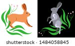 Stock vector forest wild animal hare house rabbit illustration of a hare 1484058845