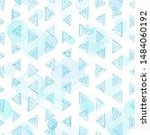 cute vector triangles seamless... | Shutterstock .eps vector #1484060192