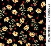 yellow sunflower pattern. hand...   Shutterstock .eps vector #1484080328