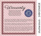 red formal warranty certificate ... | Shutterstock .eps vector #1484106818