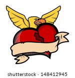 love hurts vector tattoo... | Shutterstock .eps vector #148412945