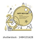new year gold 2020 number design | Shutterstock .eps vector #1484131628