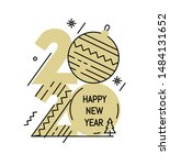 new year gold 2020 number design   Shutterstock .eps vector #1484131652