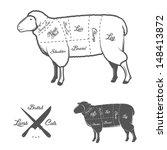 british  uk  cuts of lamb or... | Shutterstock .eps vector #148413872