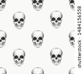 human scull seamless pattern.... | Shutterstock .eps vector #1484156558