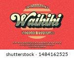 waikiki. retro poster. summer... | Shutterstock .eps vector #1484162525