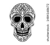 the stylized skull is drawn... | Shutterstock .eps vector #1484168672