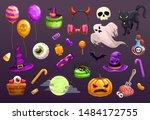 halloween items set. spooky... | Shutterstock .eps vector #1484172755