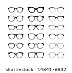 different glasses in a flat...   Shutterstock .eps vector #1484176832