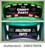 creepy halloween party banners. ... | Shutterstock .eps vector #1484178458