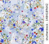watercolor seamless hand drawn... | Shutterstock . vector #1484189642