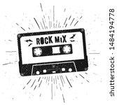 vector black music casette with ... | Shutterstock .eps vector #1484194778