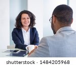 smiling female job candidate... | Shutterstock . vector #1484205968