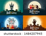 set of happy halloween greeting ... | Shutterstock .eps vector #1484207945