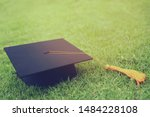 Shot Of Graduation Hats On The...