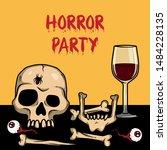 vector creepy artwork with... | Shutterstock .eps vector #1484228135