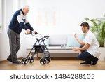 Elderly Grandfather With Walke...