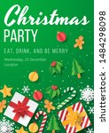 christmas party poster with... | Shutterstock .eps vector #1484298098