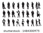 silhouettes of walking people ... | Shutterstock .eps vector #1484300975