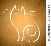line drawing of a cat sitting... | Shutterstock .eps vector #148432166