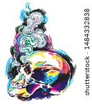human skull  colorful drawing ... | Shutterstock .eps vector #1484332838